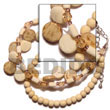 Philippines Coco Bracelets Shell Fashion Coco Bracelets Jewelry 3 Rows Sidedrill Coco Nat./bleach/wood Bead Bleach/wood Ricebeads And Acrylic Crystals Natural Shell Component SFAS484BR