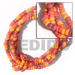 "Philippines Coco Bracelets Shell Fashion Coco Bracelets Jewelry 2-3 Mm 5 Rows Coco Pokalet Orange, Yelow, Maroon Alternate Bracelet - Size 7"" Natural Shell Component SFAS5033BR"