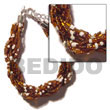 12 Rows Brown/white Twisted Glass Beads Bracelets