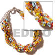 12 Rows Multicolored Twisted Glass Beads Bracelets