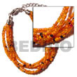 6 Rows Orange Multi Glass Beads Bracelets