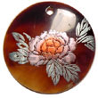 Philippines Hand Painted Pendant Shell Fashion Hand Painted Pendant Jewelry Round 40mm Black Tab W/ Handpainted Design - Floral/embossed Pendants Maki-e Japanese Art Of Painting Makie Natural Shell Component SFAS5323P