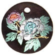 Philippines Hand Painted Pendant Shell Fashion Hand Painted Pendant Jewelry Round 40mm Hammershell Velvet W/ Handpainted Design - Floral/embossed Pendants Maki-e Japanese Art Of Painting Makie Natural Shell Component SFAS5335P