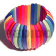 Elastic Multicolored Natural White Wooden Bangles