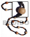 """Bohemian""- Asstd. Wood Beads Long Bohemian Necklace"
