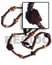 "Philippines Long Bohemian Necklace Shell Fashion Long Bohemian Necklace Jewelry ""Bohemian""- Asstd. Wood Beads Per Necklace When Ordered In 4-5mm Coco Pokalet Nat. Brown Neckline / 36 In Natural Shell Component SFAS1862NK"