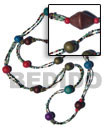 2 Rows Red Cut Long Bohemian Necklace