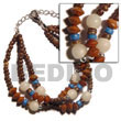 Philippines Seed Bracelets Shell Fashion Seed Bracelets Jewelry 3 Rows Coco Pokalet. Nat. Brown W/ Buri Seed, Palmwood & Silver Metal Ball Natural Shell Component SFAS952BR