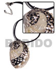 Fashion black leather thong with glistening white abalone pendant