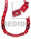 Red Rectangular Beads Bone Horn Beads Necklace